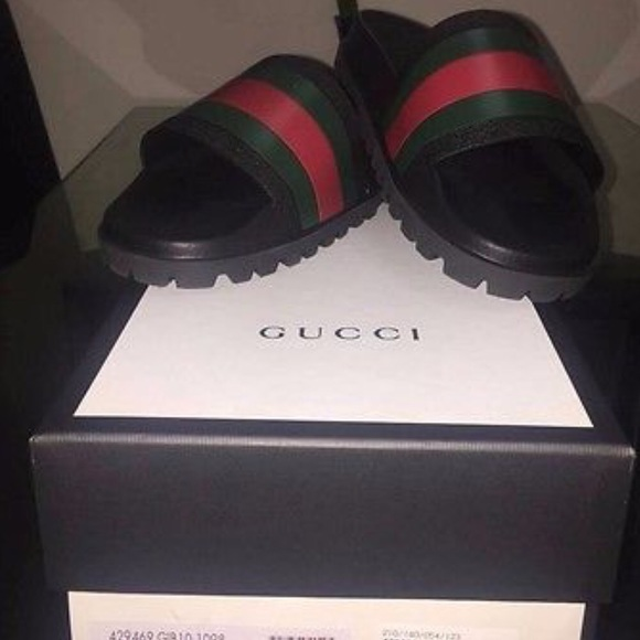 3e32c38a54c Gucci Other - GUCCI Mens Web Strap Rubber Slide Sandals